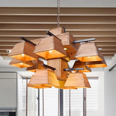 Trapezoid Wood Island Chandelier Industrial 3/4/12 Lights Dining Room Ceiling Light in Brown, HL585391