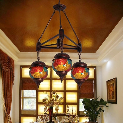 3 Bulbs Chandelier Pendant Lighting Traditional Living Room Hanging Lamp Kit with Ball Red-Yellow-Blue Glass Shade