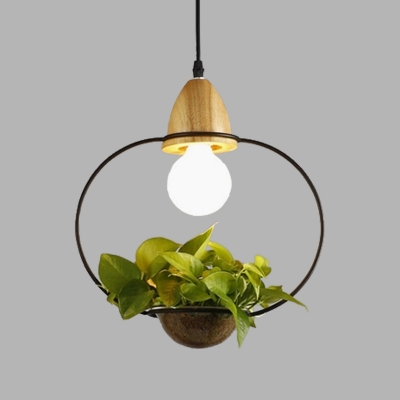 Black/White 1 Head Hanging Ceiling Light with Plant Deco Industrial Metal Oval/Rectangle/Urn Pendant Lighting