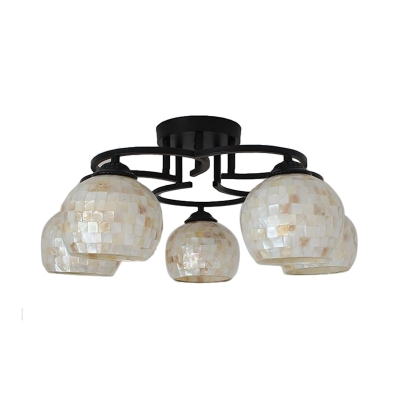 Dome Semi Flush Light Tiffany Style Stained Glass 5 Lights Beige/Yellow Ceiling Fixture for Living Room