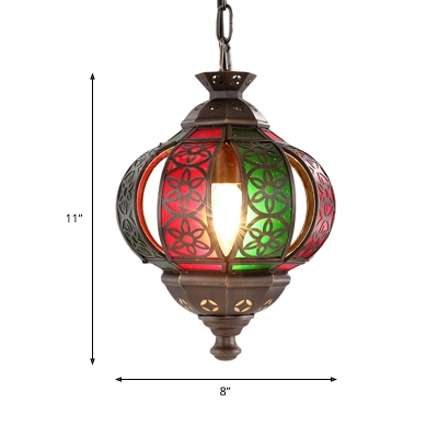 Metal Bronze Hanging Lamp Jar 1 Head Art Deco Ceiling Pendant Light with Adjustable Chain