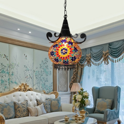 Traditional Hat Shape Hanging Lamp 1 Head Gold/Yellow/Green Stained Glass Ceiling Pendant Light for Bar