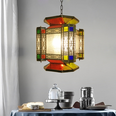 3 Heads Candy Shape Chandelier Antiqued Brass Metal Hanging Lamp with Seeded Glass Shade