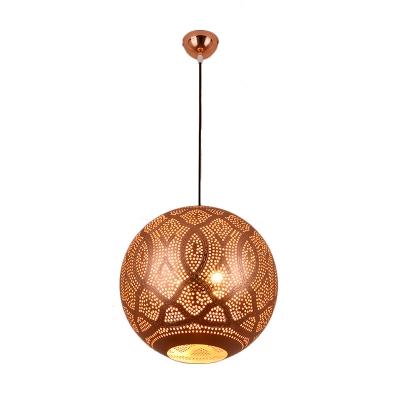 3 Heads Global Chandelier Light Decorative Rose Gold Metal Pendant Lighting Fixture