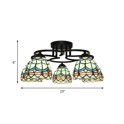 5 Lights Bedroom Semi Flush Mount Tiffany Blue/Green Ceiling Lighting with Dome Stained Glass Shade