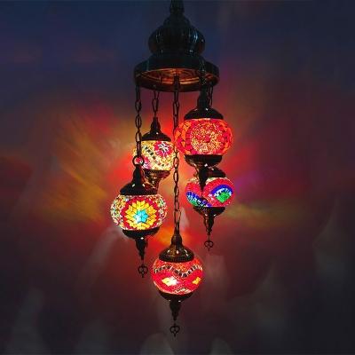 5 Lights Oval Chandelier Lighting Art Deco White/Orange/Blue Stained Glass Hanging Lamp Kit