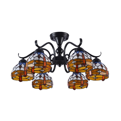 Dragonfly Cut Glass Semi Flush Mount Lighting 13