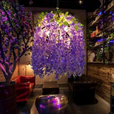 Industrial Global Chandelier Light Fixture 3 Lights Metal LED Flower Pendant Lamp in Purple
