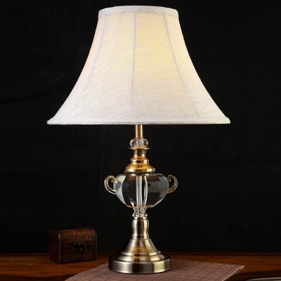 K9 Crystal White Table Light Flared Single Bulb Vintage Night Lamp for Living Room HL586077 фото