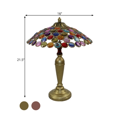 Metal Tapered Night Lighting Traditional 1 Head Living Room Nightstand Lamp in Brass/Copper, 12