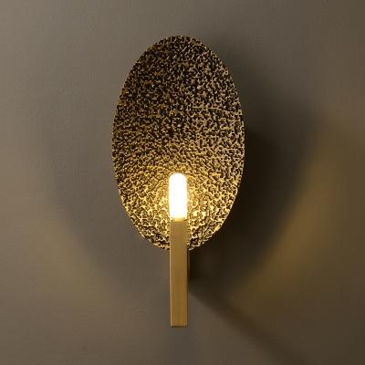 Saucer Wall Lamp Modernist Metal 1 Head Brass Sconce Light Fixture with Pencil Arm