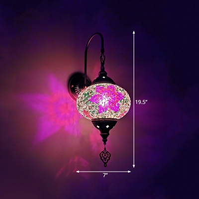 Stained Glass Lantern Wall Mount Lamp Art Deco 1 Light Bar Sconce Light Fixture in Red/Sky Blue/Purple