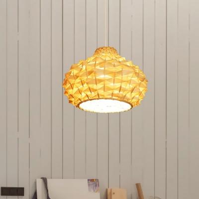 Teardrop Pendant Light Japanese Bamboo 1 Head Suspended Lighting Fixture in Beige