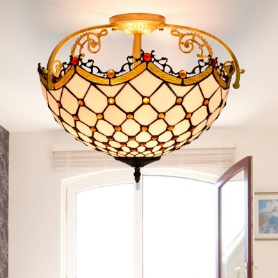 Tiffany Scalloped Ceiling Mounted Fixture 3 Lights Cut Glass Semi Mount Lighting in Beige for Bedroom