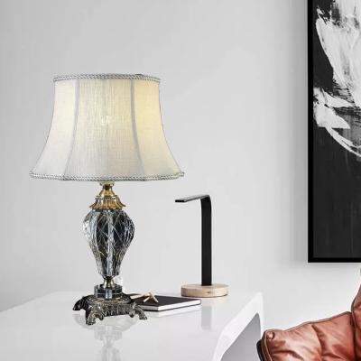 Vintage Paneled Bell Nightstand Lamp Single Bulb Beveled K9 Crystal Table Light in Cream Gray, HL586121