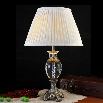 Beautifulhalo coupon: 1 Bulb Crystal Night Light Antique Beige Urn Shape Bedroom Table Lamp with Metal Carved Base