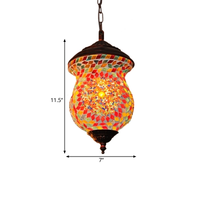 1 Bulb Pendant Lamp Traditionalism Jar Stained Glass Hanging Light Fixture in Copper