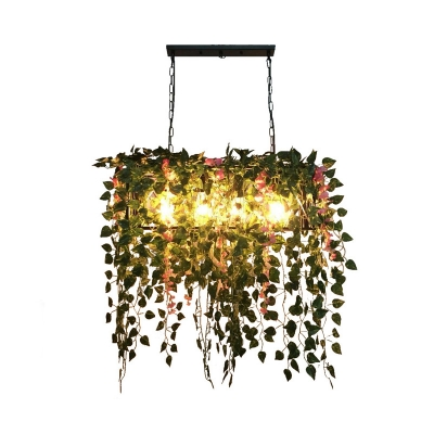 4 Heads Metal Island Pendant Antique Black Rectangle Restaurant LED Down Lighting with Plant Decor