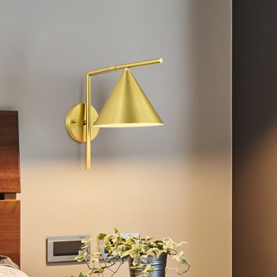 Contemporary 1 Bulb Sconce Light Black/White/Gold Conical Wall Mounted Lamp with Metal Shade for Bedside