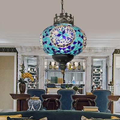 Lantern Restaurant Hanging Lighting Art Deco Stained Glass 1 Bulb Red/Blue/Orange Red Ceiling Pendant Lamp