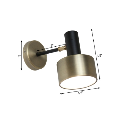Metal Drum Wall Lighting Contemporary 1 Bulb Sconce Light Fixture in Black and Gold