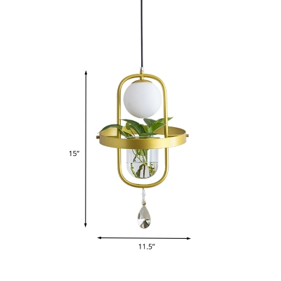 Metal Oval Frame Pendant with Plant Deco Industrial 1 Head Bedroom Ceiling Lamp in Gold
