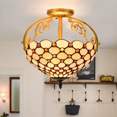 Stained Glass Beaded Semi Flush Lighting Mediterranean 2 Lights Beige Ceiling Lamp