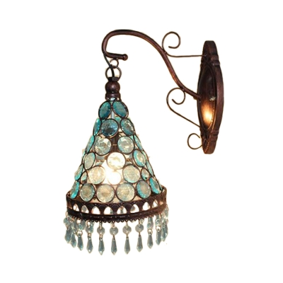 1 Bulb Metal Wall Lamp Decorative Blue/Yellow/Purple Tapered Dining Room Sconce Light Fixture