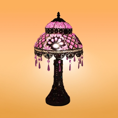 1 Light Night Table Lamp Antique Dome Metal Nightstand Light in Purple for Bedroom