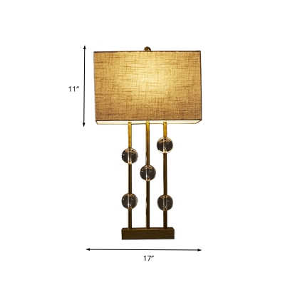 1 Head Rectangle Table Lamp Traditional Beige Fabric Nightstand Light with Clear Crystal Bead