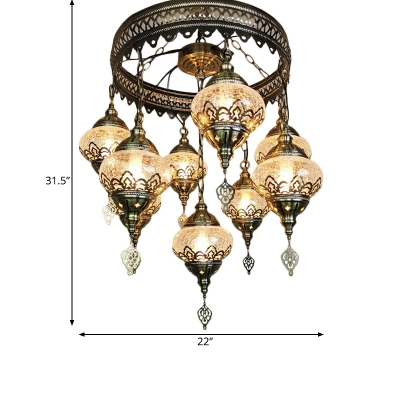 9 Lights Oval Chandelier Pendant Lighting Art Deco Bronze Clear Crackle Glass Hanging Lamp Kit