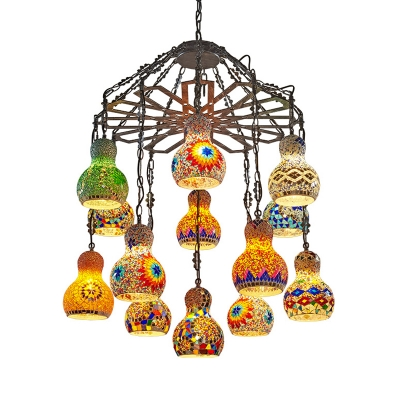 Antique Black Gourd Pendant Chandelier Bohemia Stained Glass 13 Lights Coffee Shop Hanging Light Kit