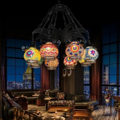 Black 6/8 Bulbs Hanging Chandelier Art Deco Stained Glass Lantern Down Lighting Pendant, 26
