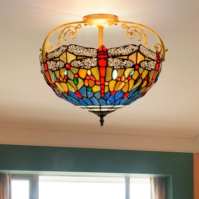 Stained Glass Blue/Orange/Yellow Semi-Flush Mount Dragonfly 3 Lights Mediterranean Ceiling Lamp