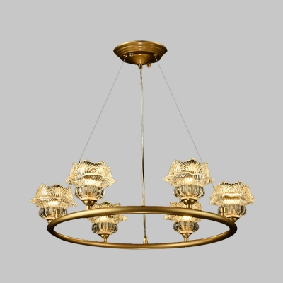 Sunflower Clear Glass Chandelier Light Traditionalism 6 Bulbs Bedroom Pendant Lamp