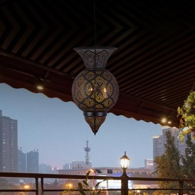 Urn Restaurant Chandelier Light Vintage Metal 3 Heads Black Pendant Lighting Fixture