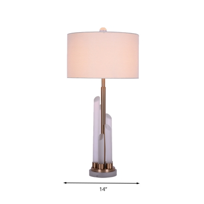White 1 Light Table Lamp Traditionalist Crystal Rod Drum Nightstand Light with Fabric Shade