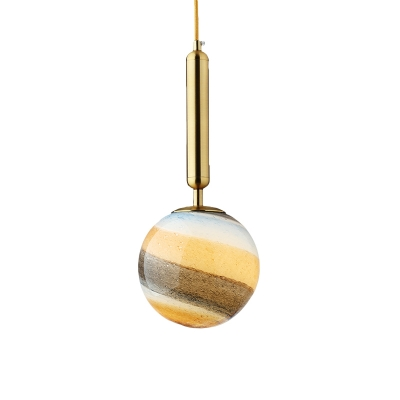 1 Bulb Bedroom Ceiling Lamp Modern Black/Gold Hanging Light Fixture with Ball Closed Glass Shade