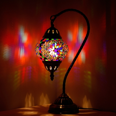1 Bulb Stained Glass Night Lamp Mediterranean Purple/Yellow and Red/Red Brown Teardrop Shaped Bedroom Nightstand Light with Gooseneck Arm