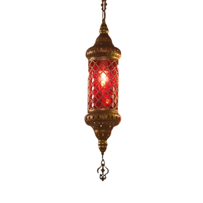 1 Head Hanging Lighting Art Deco Restaurant Suspension Pendant with Cylindrical Red/Yellow/Blue Glass Shade