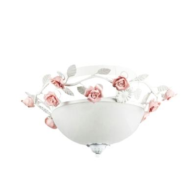 3 Lights White Glass Flush Light Traditional Bowl LED Bedroom Close to Ceiling Lighting