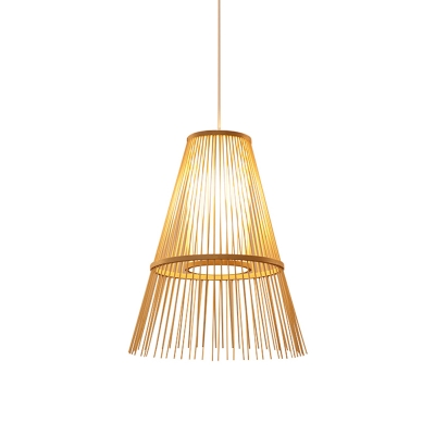 Bamboo Conical Pendant Light Asian 1 Head Beige Ceiling Suspension Lamp with Inner Tubular White Shade