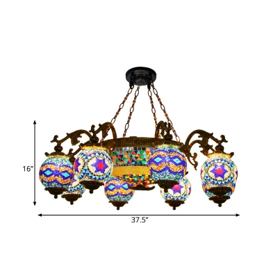 Brass Radial Chandelier Lighting Traditional Stained Glass 4/9/12 Bulbs Restaurant Ceiling Hang Fixture with Round Canopy