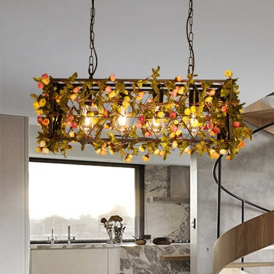 Industrial Flower/Plant Island Pendant 4 Bulbs Metal LED Suspension Light in Yellow/Green for Restaurant