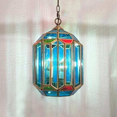 Jar Shape Bedroom Hanging Lighting Traditional Blue Glass 1 Bulb Brass Ceiling Lamp