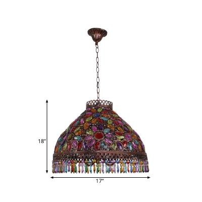 Metal Rust Ceiling Chandelier Dome 3 Bulbs Art Deco Down Lighting Pendant for Bedroom