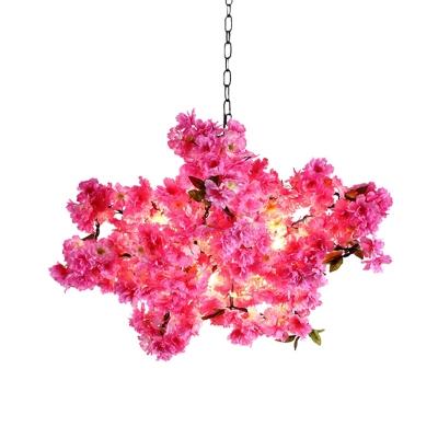 Pink 5 Heads Chandelier Lamp Industrial Metal Flower Hanging Light Fixture for Restaurant