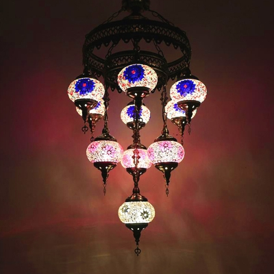 Bronze Round Hanging Chandelier Vintage Red/Pink/Yellow Stained Glass 10 Bulbs Bar Ceiling Lamp Kit