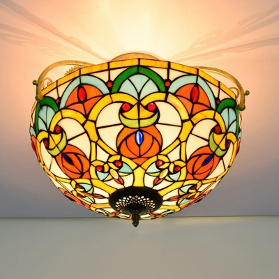 Cut Glass Domed Shade Semi Flush Mediterranean 3 Lights Orange Semi Mount Lighting
