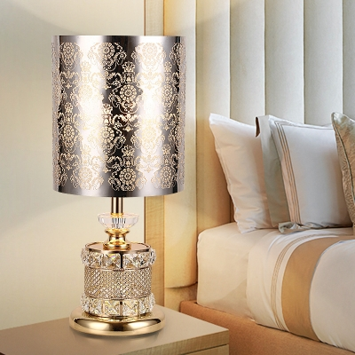 Flower/Tree Bedroom Table Light Traditionalism Stainless Steel 1 Bulb Gold Night Lamp with Beveled K9 Crystal Decor